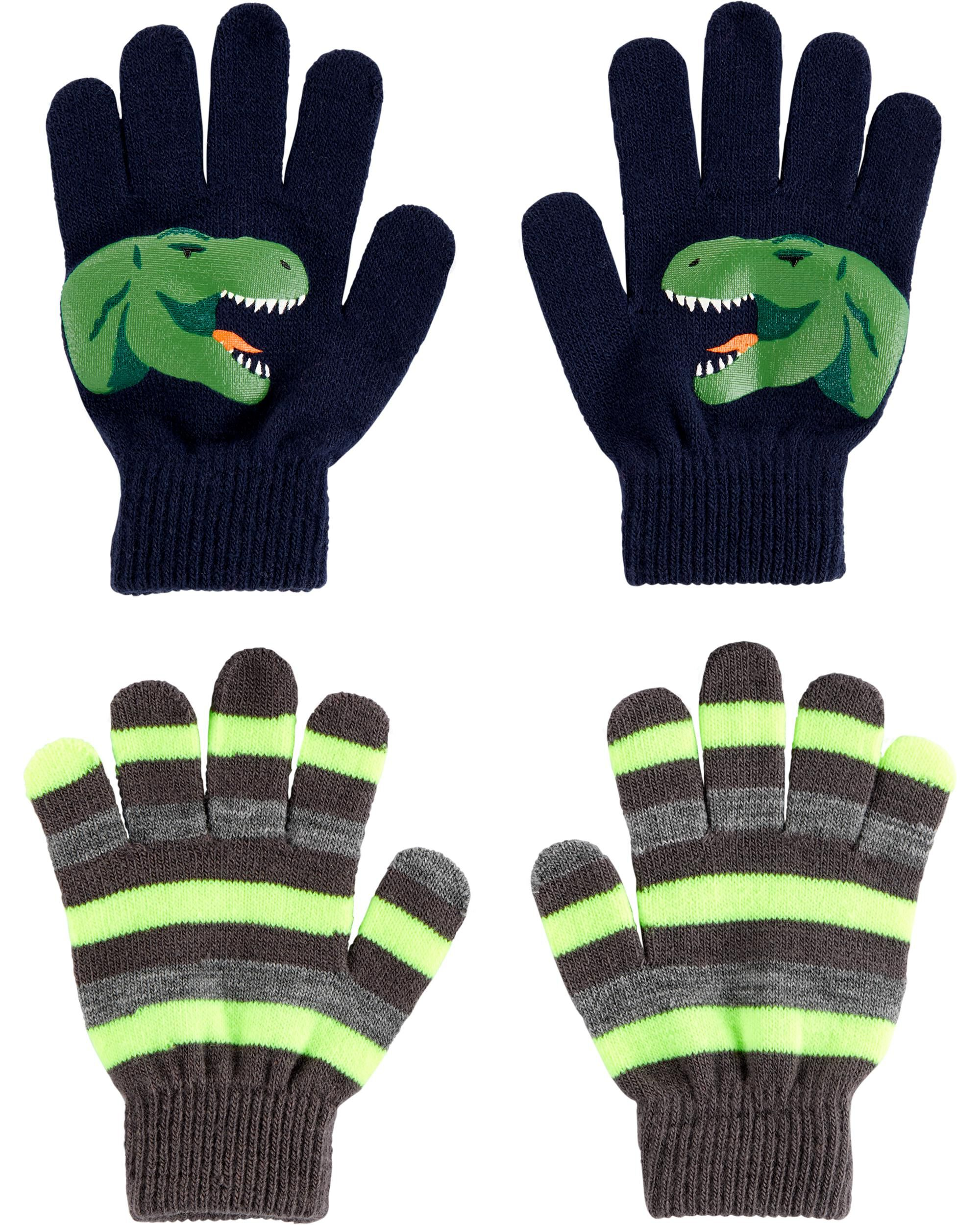 *DOORBUSTER*2-Pack Glow-In-The-Dark Dinosaur Gloves