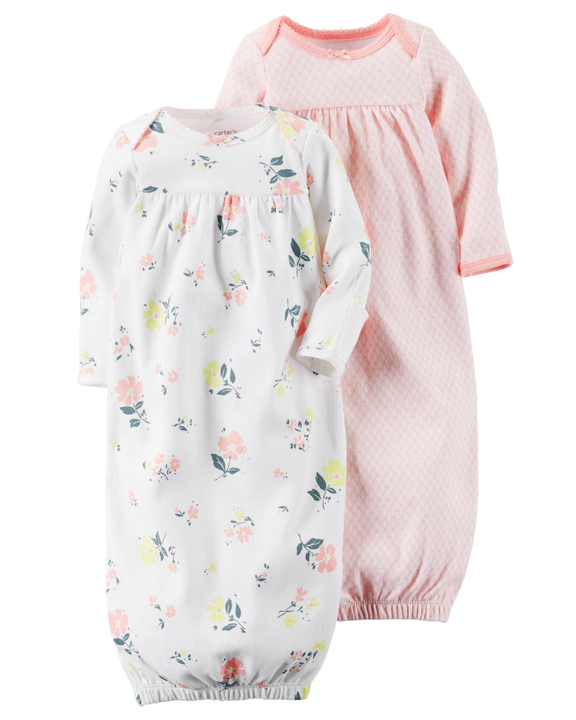 Baby Girl 2-Pack Babysoft Sleeper Gowns | Carters.com