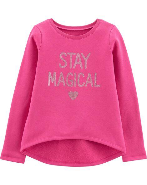 4d114249 Glitter Stay Magical Hi-Lo Fleece Top | Carters.com