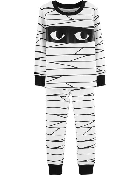 69f0027ab047 Kid Boy 2-Piece Halloween Mummy Glow-In-The-Dark Snug Fit Cotton PJs ...