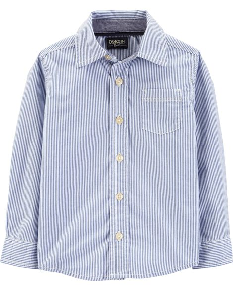 Button-Front Striped Shirt