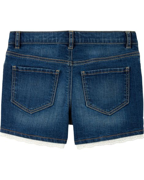 Eyelet Trim Stretch Denim Shorts