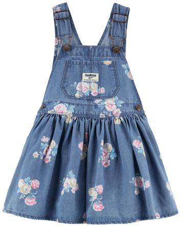 Iowa Wash Size 3-24 Months Oshkosh Bgosh Baby Girls Soft Knit Denim Heart Pocket Shortalls with Adjustable Straps