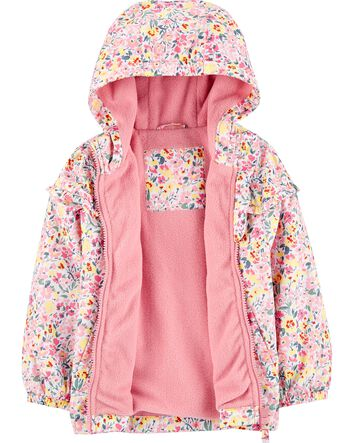 """Details about  /NWT Oshkosh girl pink hooded romper w///""""Oshkosh/"""" /& embroidered flowers; 12m"""