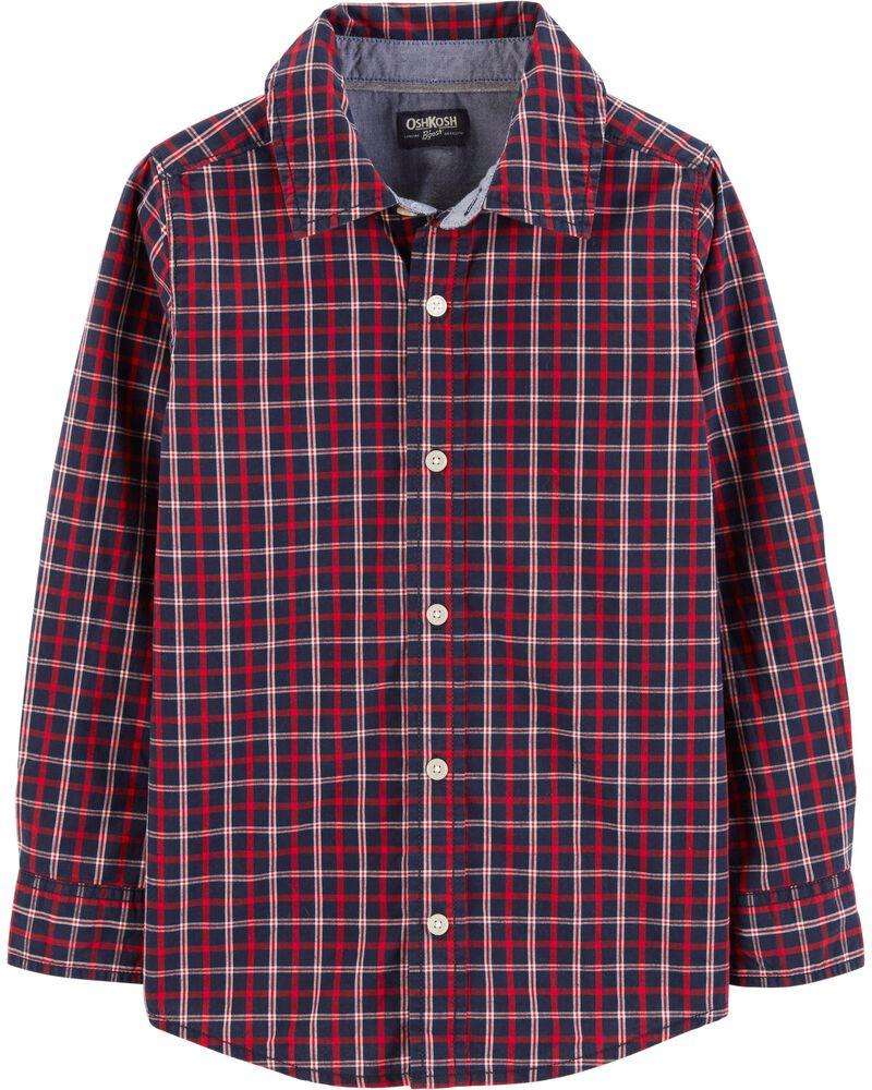 3T OshKosh B/'gosh Boys Toddlers 12M 4T Long Sleeve Button Down Flannel Shirt