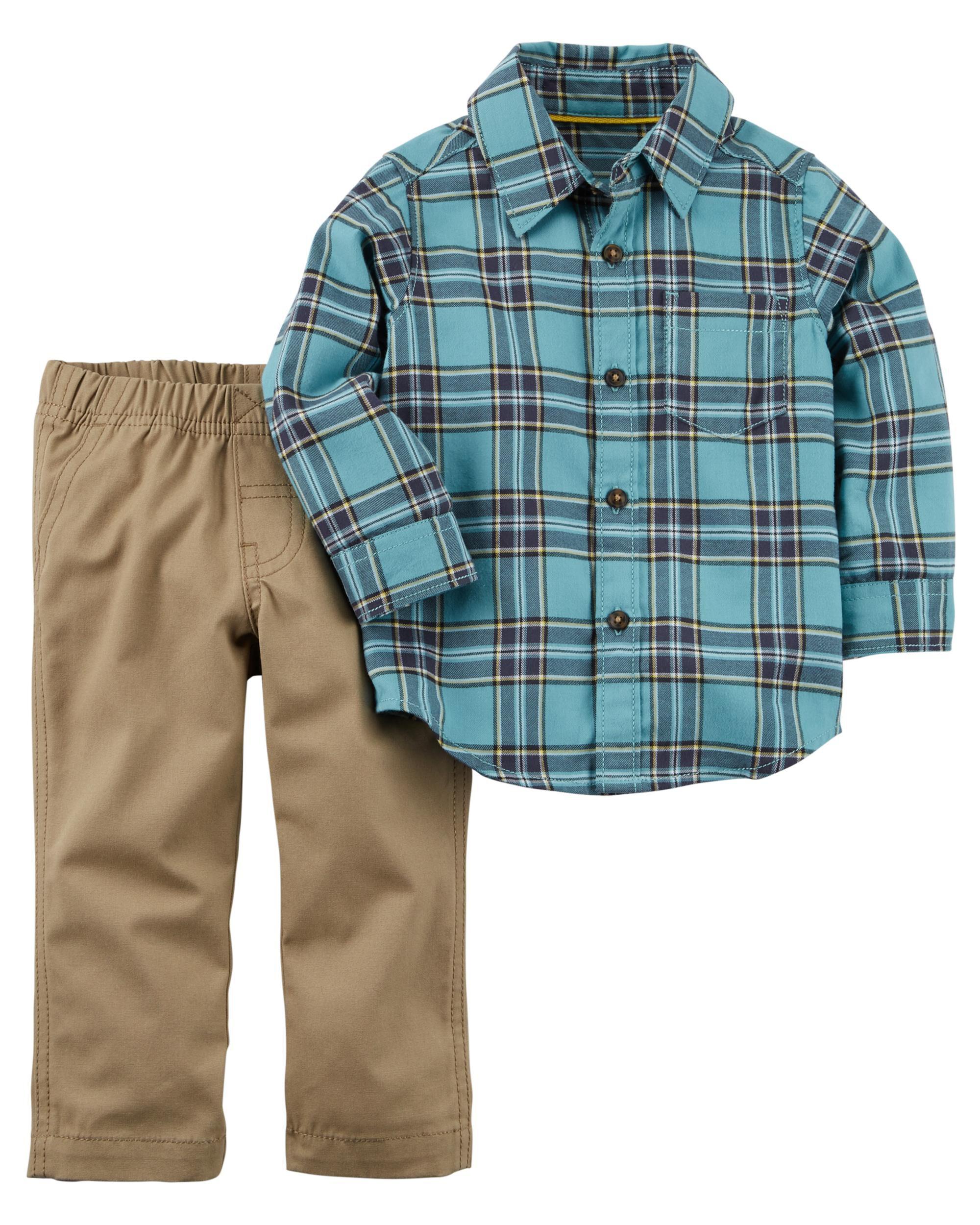2 Piece Button Front Shirt Canvas Pant Set