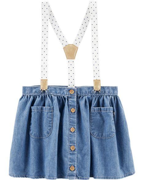 Polka Dot Suspender Skirt
