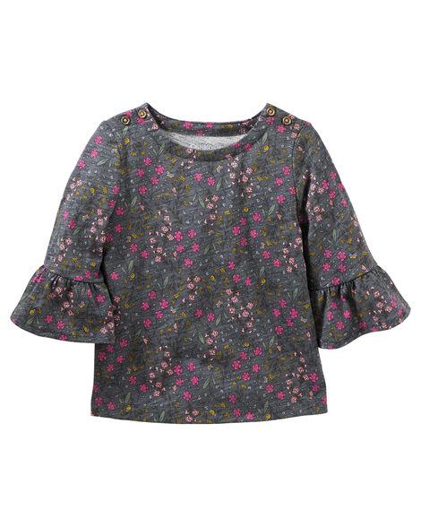 Floral Print Bell-Sleeve Top