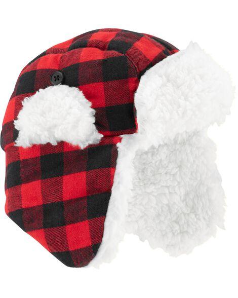 47149d3bdd7 Baby Boy Buffalo Check Flannel Trapper Hat