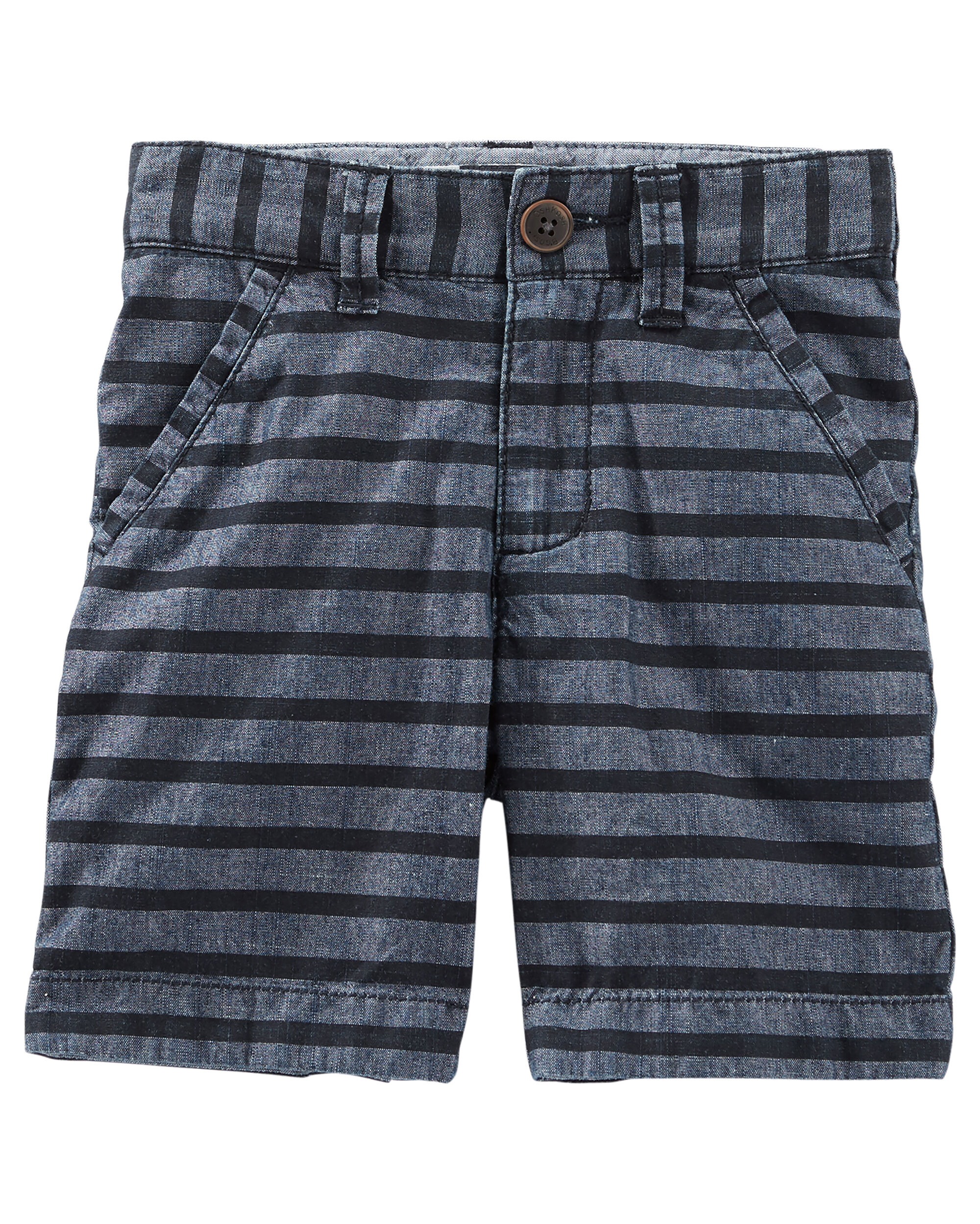 b1653953a Roll-Cuff Striped Chambray Flat-Front Shorts | OshKosh.com