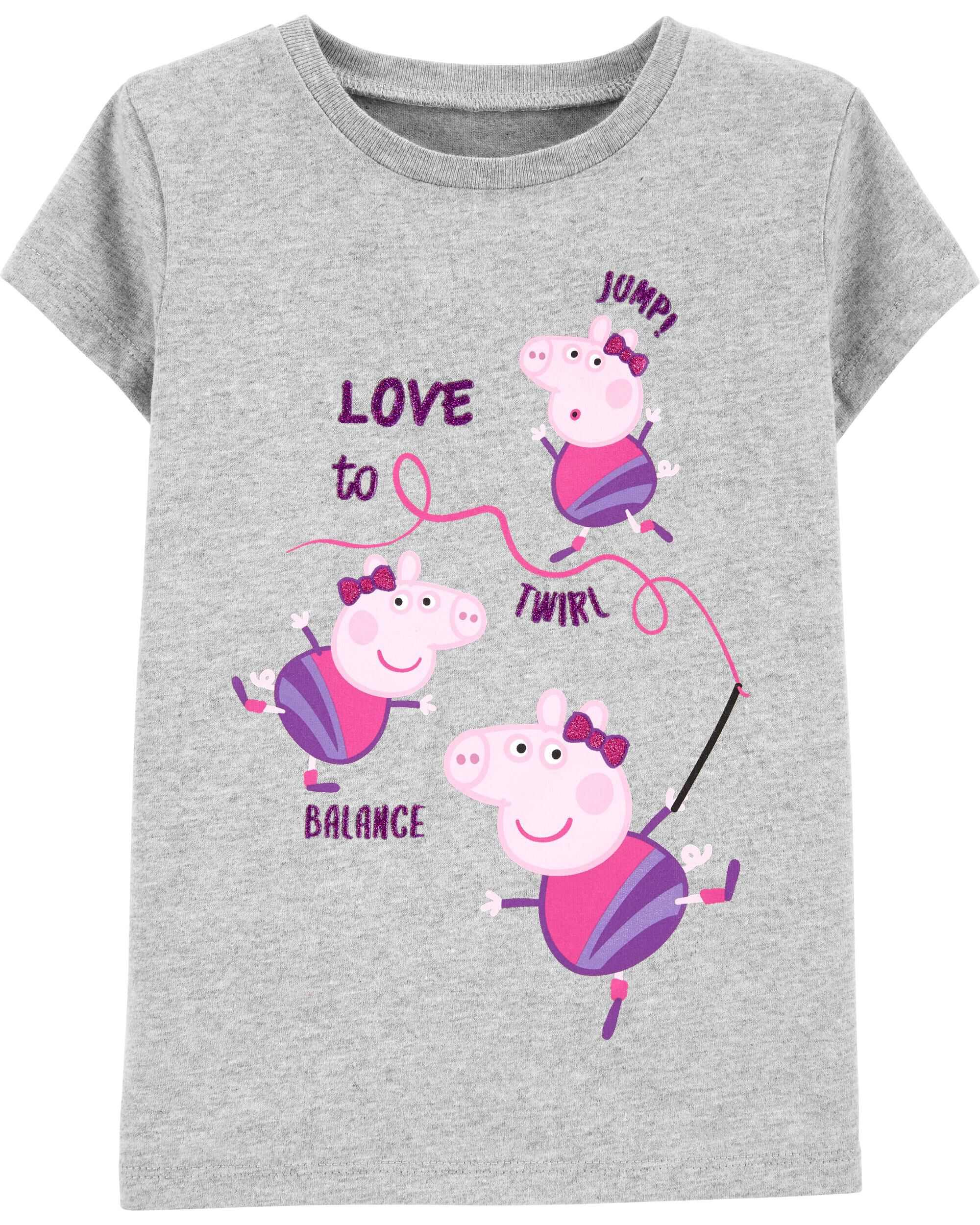 NWT Girls Peppa Pig Pink Flower Power Grahic L//S Shirt Tee Top Size 5 5T