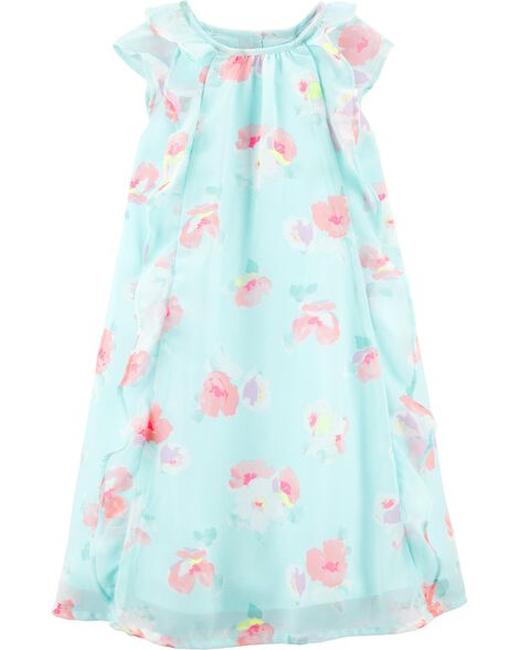 Floral Ruffle Front Dress