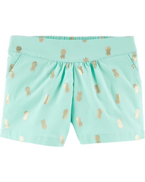 Pleated Pull-On Shorts