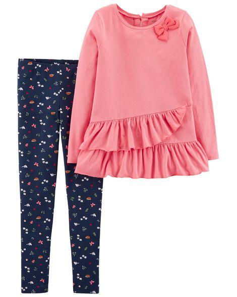 1a700e1d0 Kid Girl 2-Piece Ruffle Top   Floral Legging Set