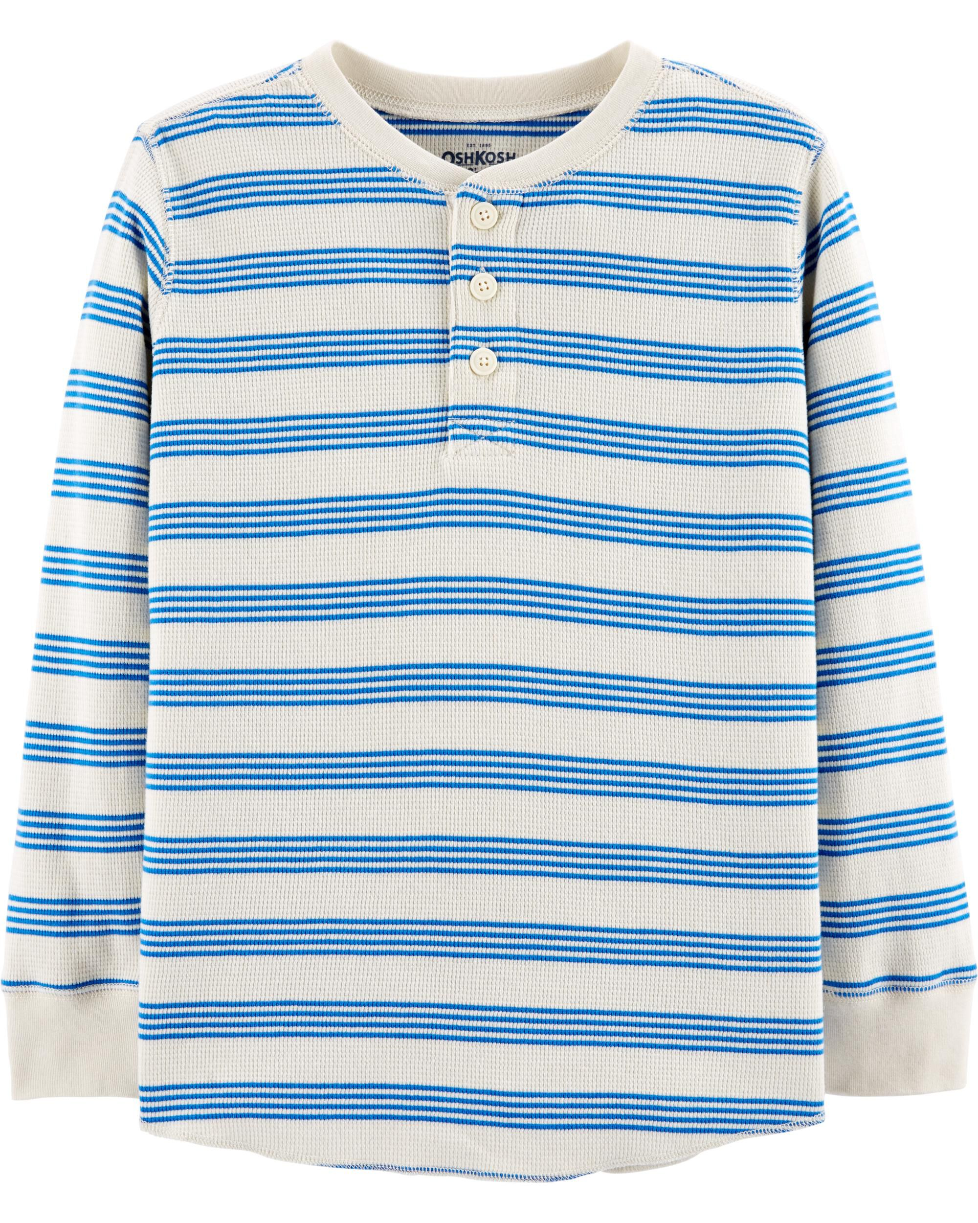 Light Blue OshKosh BGosh Boys Striped Thermal Long Sleeve Tee