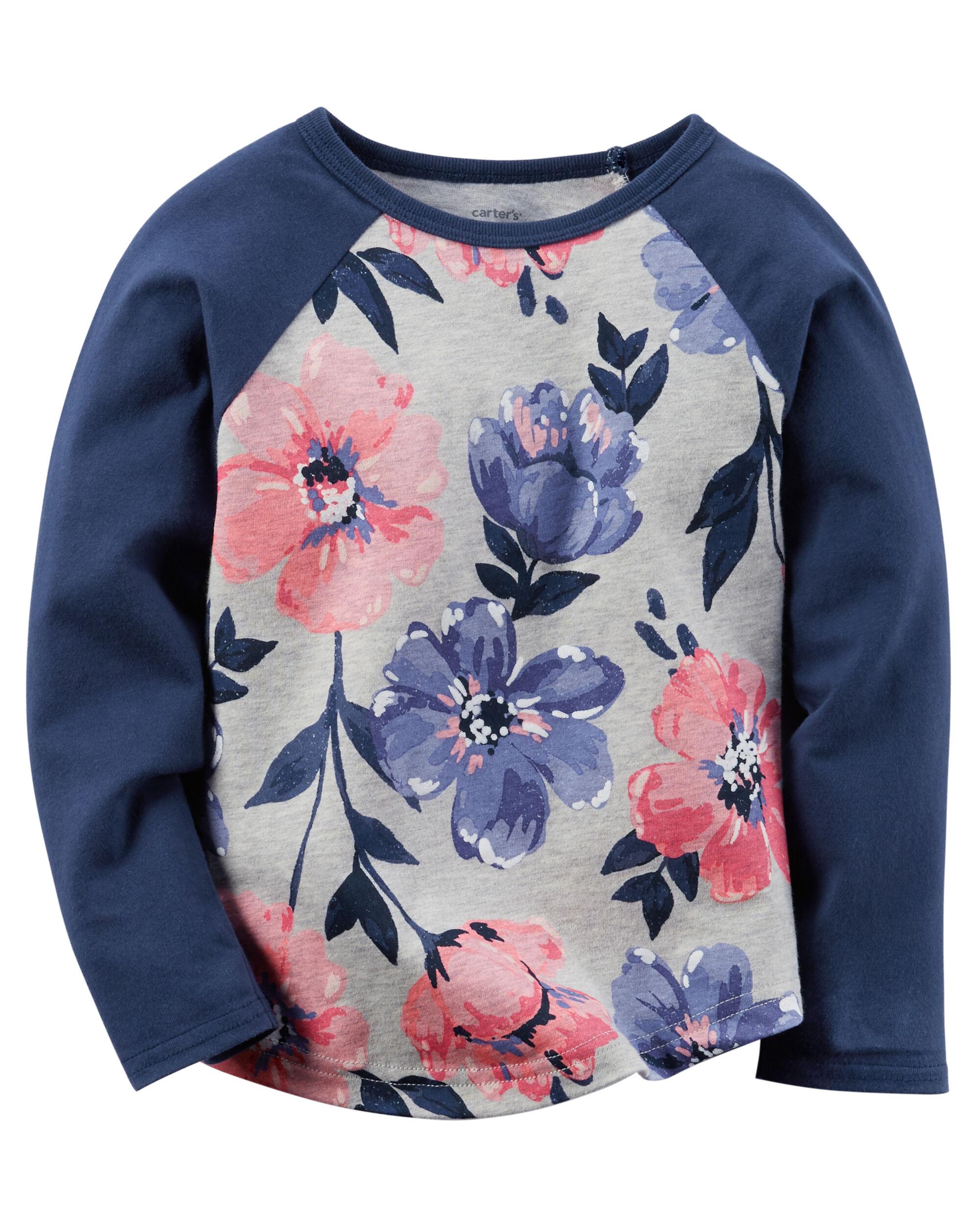 Baby Girl Long Sleeve Floral Raglan Tee