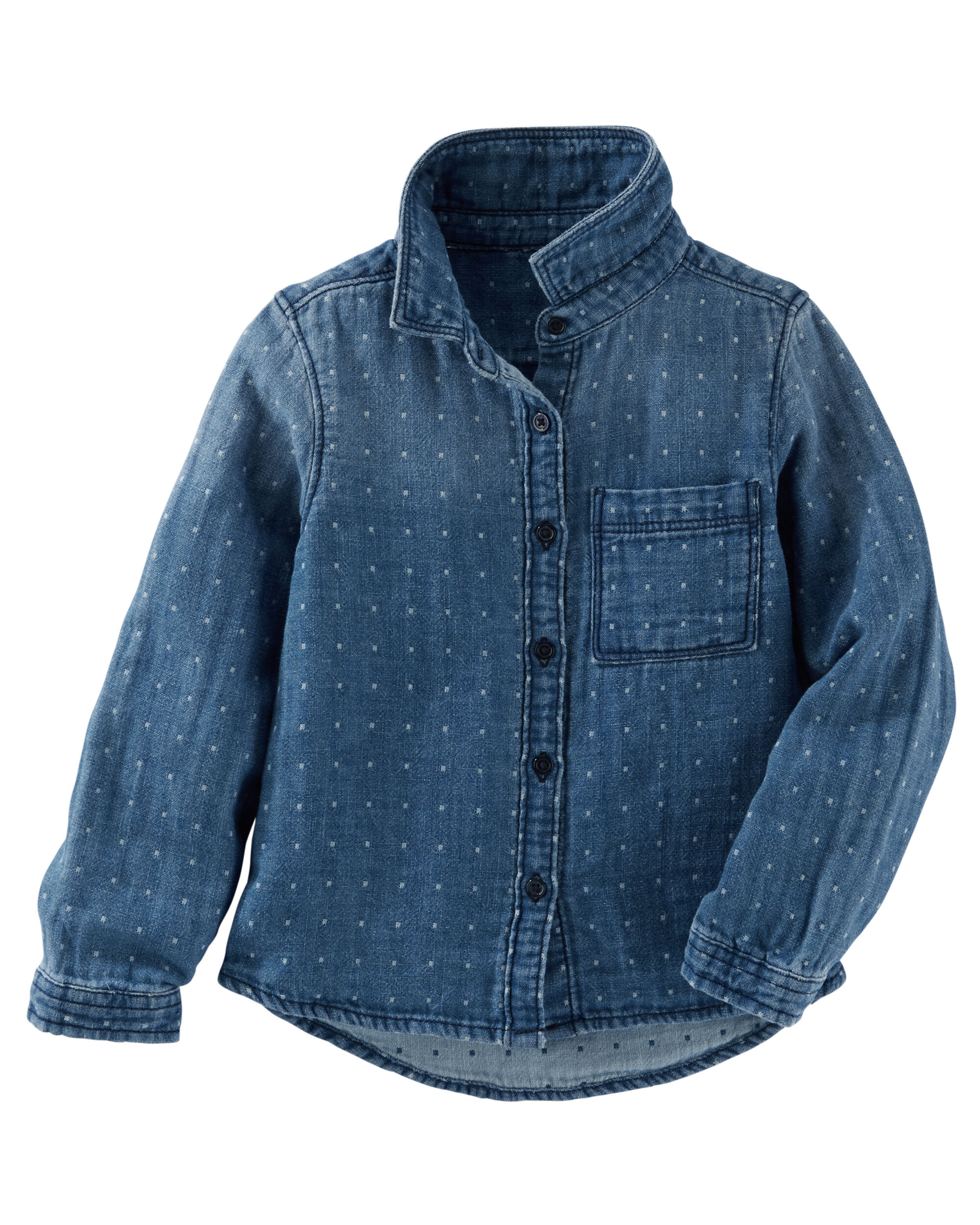 Dotted Denim Button-Front Top
