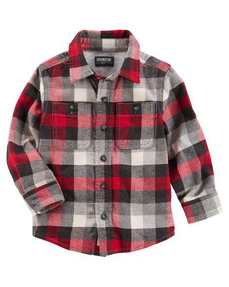9e29de3b Button-Front Plaid Flannel Shirt | OshKosh.com