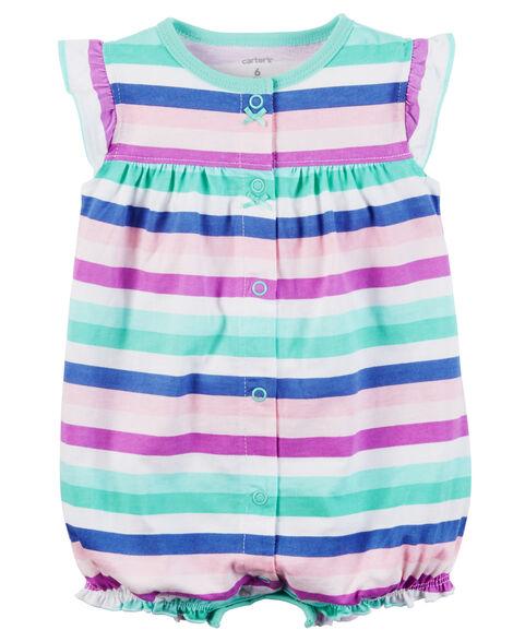 e4f7990e5 Baby Girl Snap-Up Cotton Romper