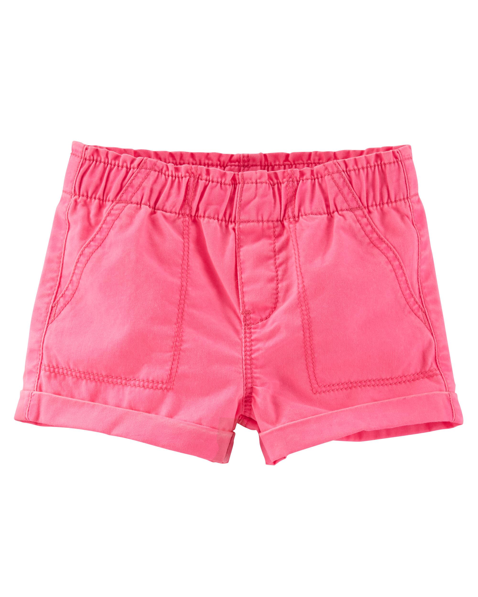 Pull-On Neon Twill Shorts