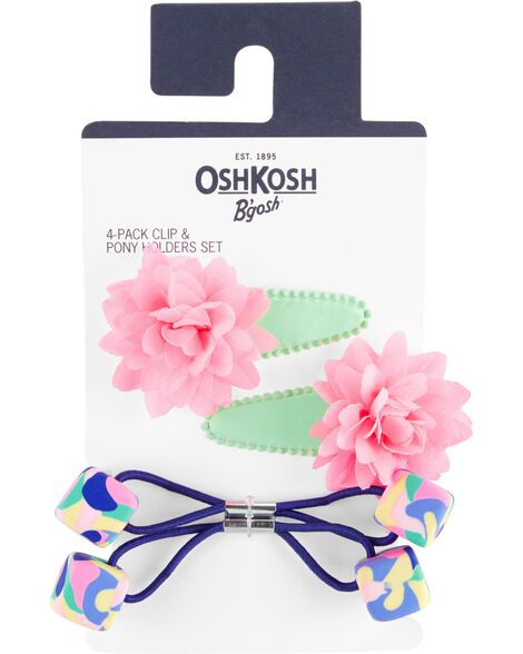 4-Pack Hair Clips & Ponytail Holders