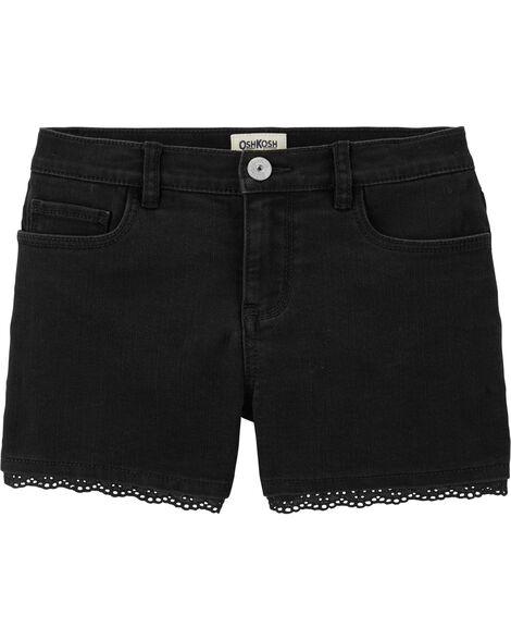 Stretch Black Denim Shorts