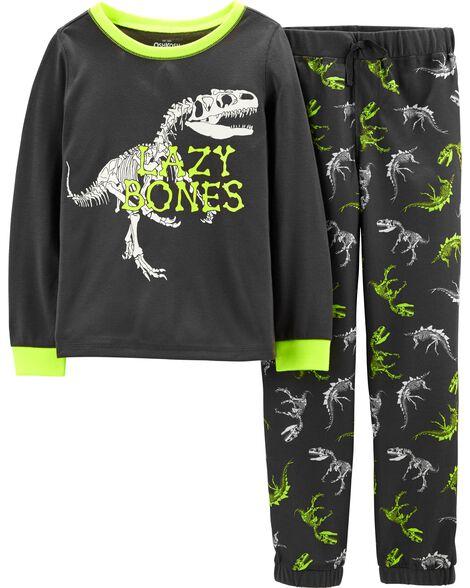 2-Piece Glow-in-the-Dark Dinosaur PJs