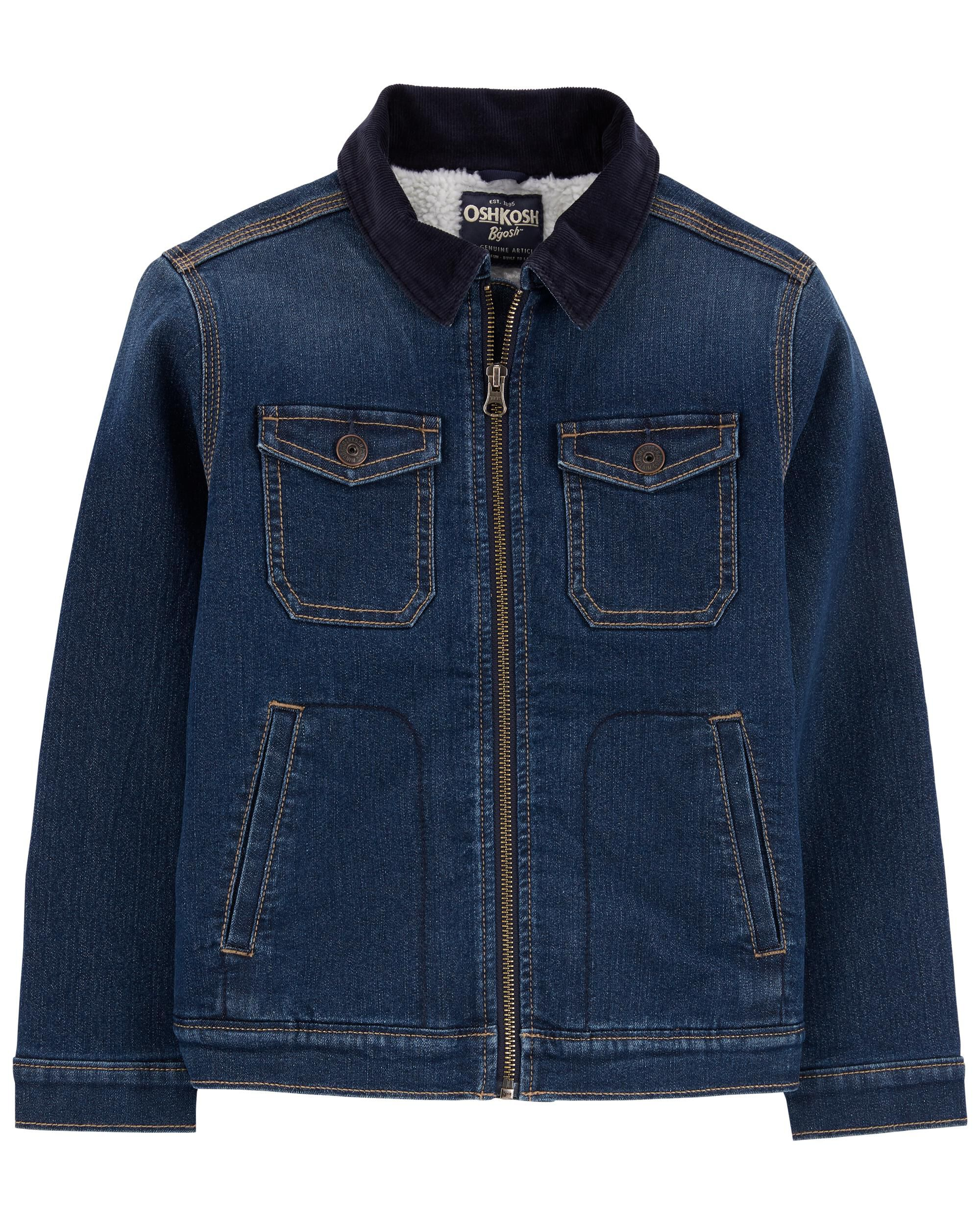 Sherpa-Lined Knit Denim Jacket