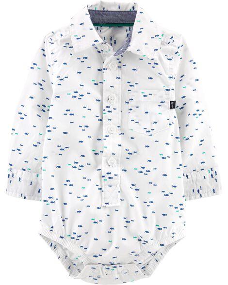 Button-Front Fish Bodysuit