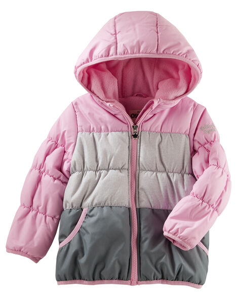 Hooded Colorblock Bubble Jacket