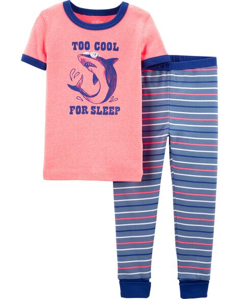 2-Piece Snug Fit Shark Cotton PJs