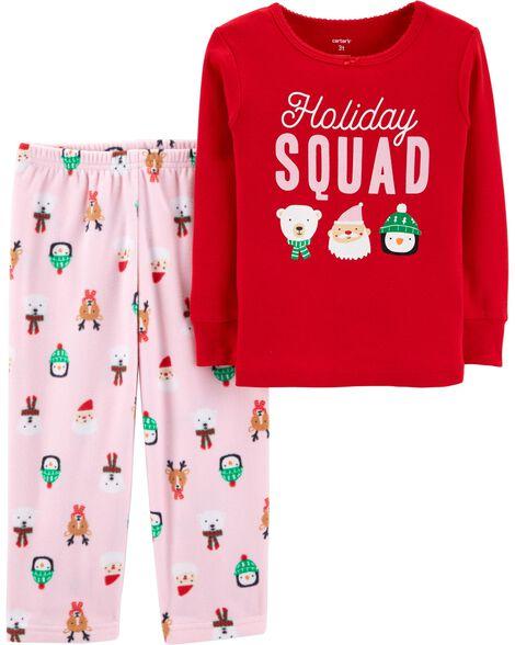 2ef8b3b6e7cb Baby Boy 2-Piece Toddler Christmas Cotton   Fleece PJs
