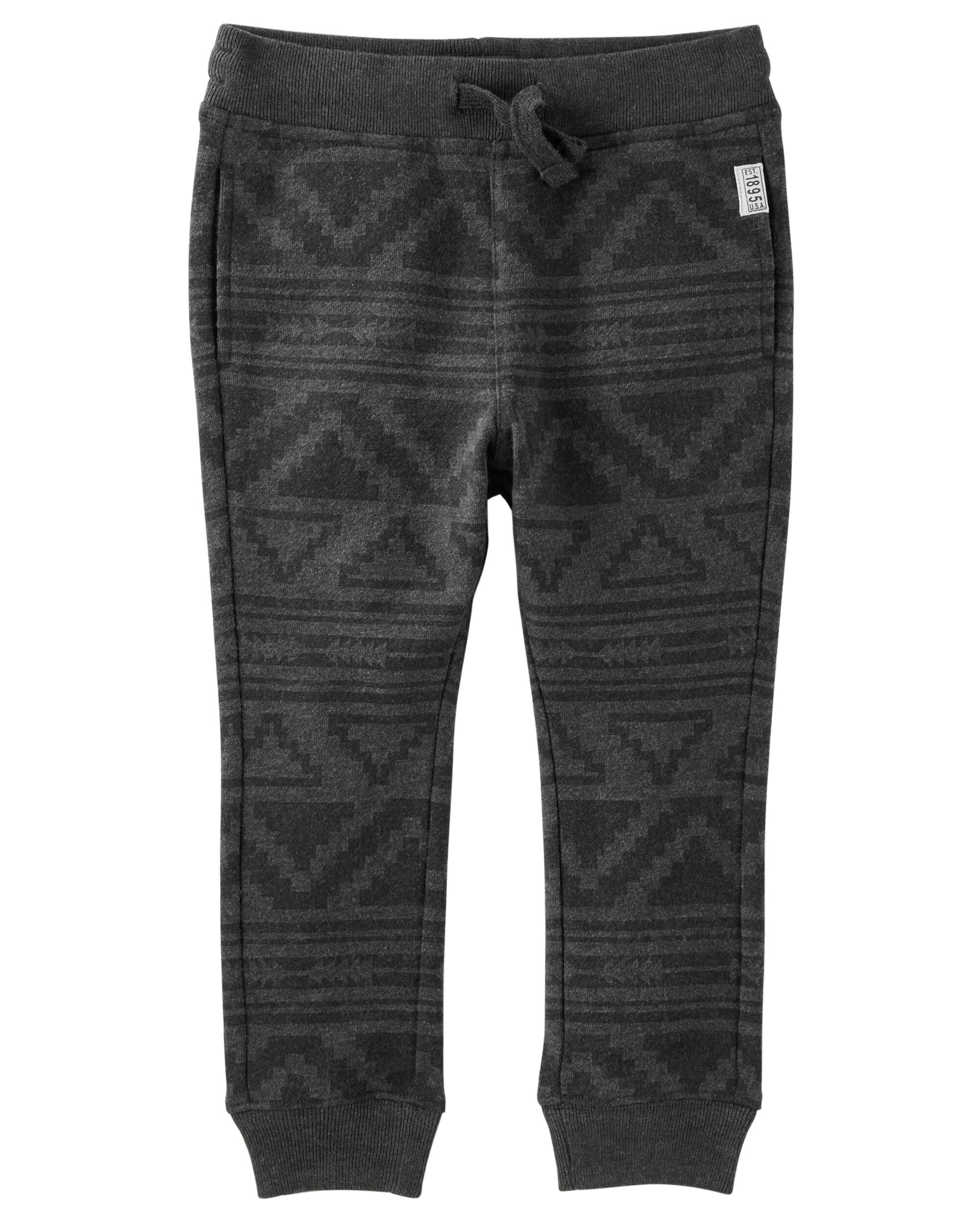 Geo Print Fleece Joggers Pants Black Loading Zoom