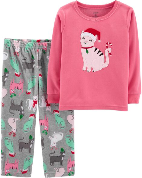 Kid Girl 2-Piece Christmas Cat Fleece PJs  8eb864a64