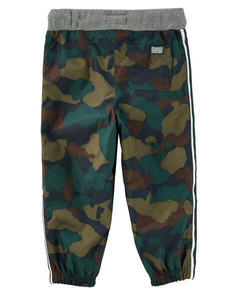 Jersey-lined Camo Print Active Pants