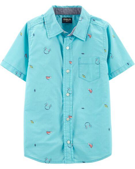Button-Front Doodle Shirt