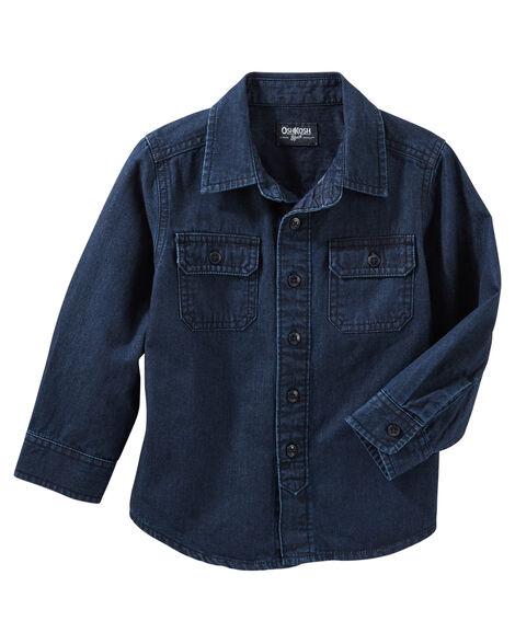 1a1a3229655 2-Pocket Button-Front Denim Shirt