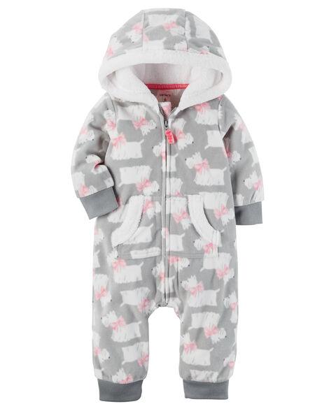 ae6edf28d Baby Girl Hooded Fleece Jumpsuit