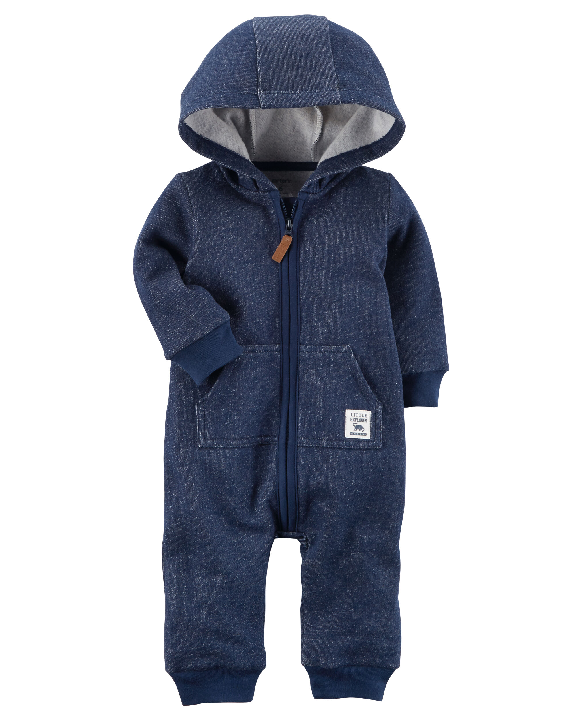 f6770a605 Baby Boy Hooded Brushed Fleece Jumpsuit