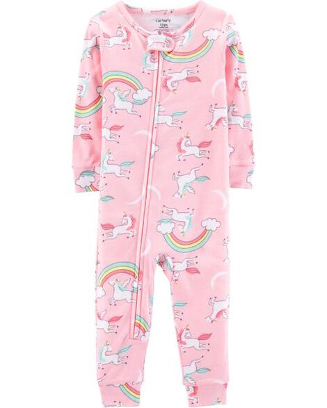 08fb15f66cef Baby Girl 1-Piece Unicorn Snug Fit Cotton Footless PJs
