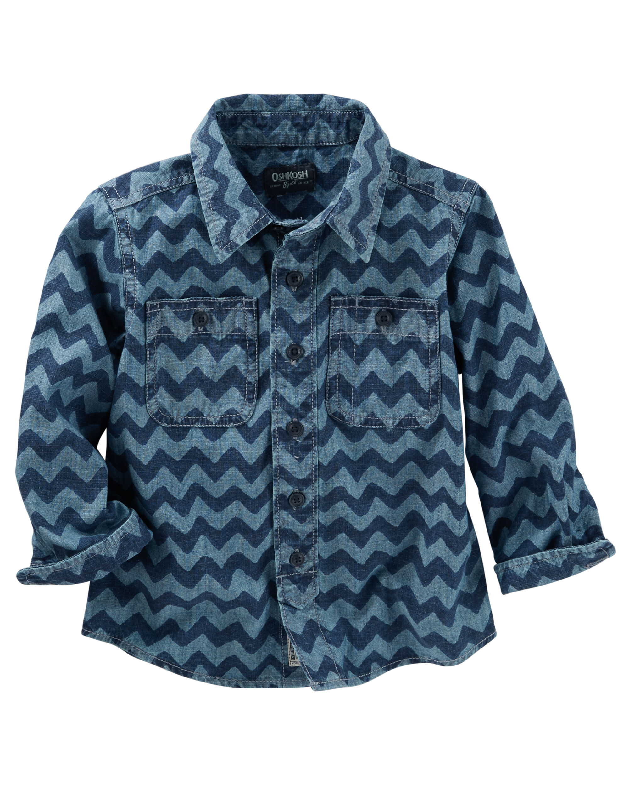 5 Kids Oshkosh Bgosh Little Boys Chambray Chevron Print Shirt Boys Button Down Shirts