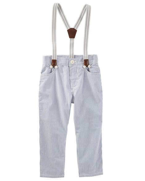 Suspender Seersucker Pants