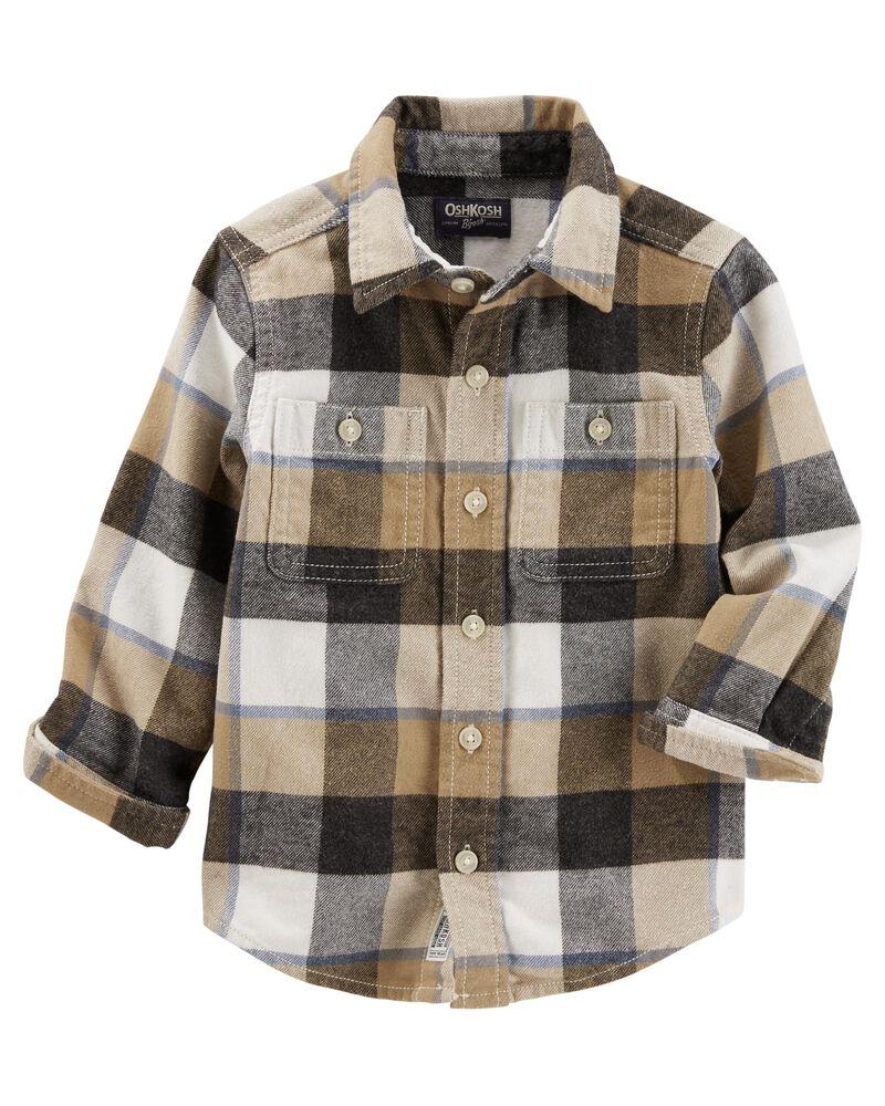 Oshkosh Plaids Blue Shirt Size Large 16 12