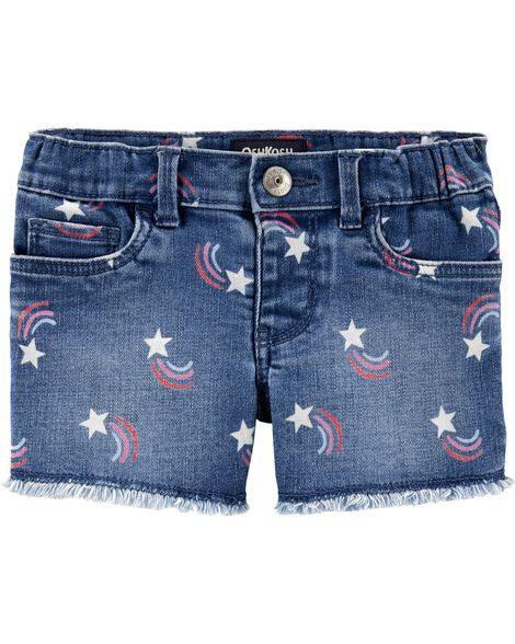 Rainbow Star Stretch Denim Shorts