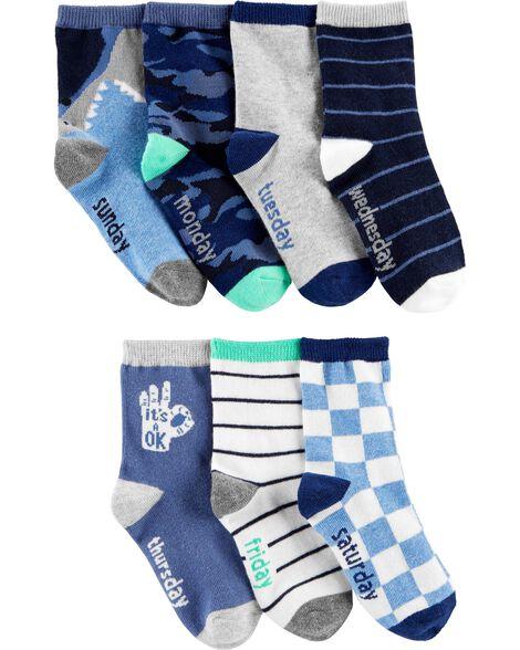 7-Pack Pattern Crew Socks
