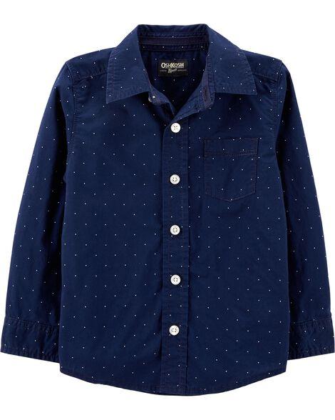 Dot Button-Front Shirt