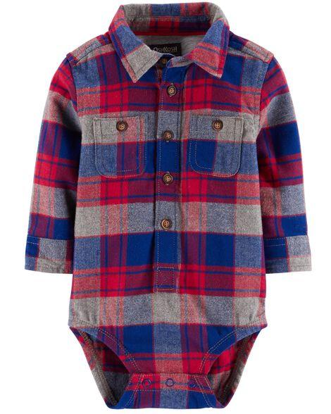 5bd871b6dce4 Button-Front Flannel Bodysuit | OshKosh.com