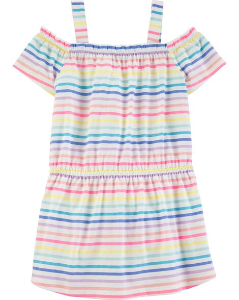 Cold Shoulder Rainbow Stripe Top