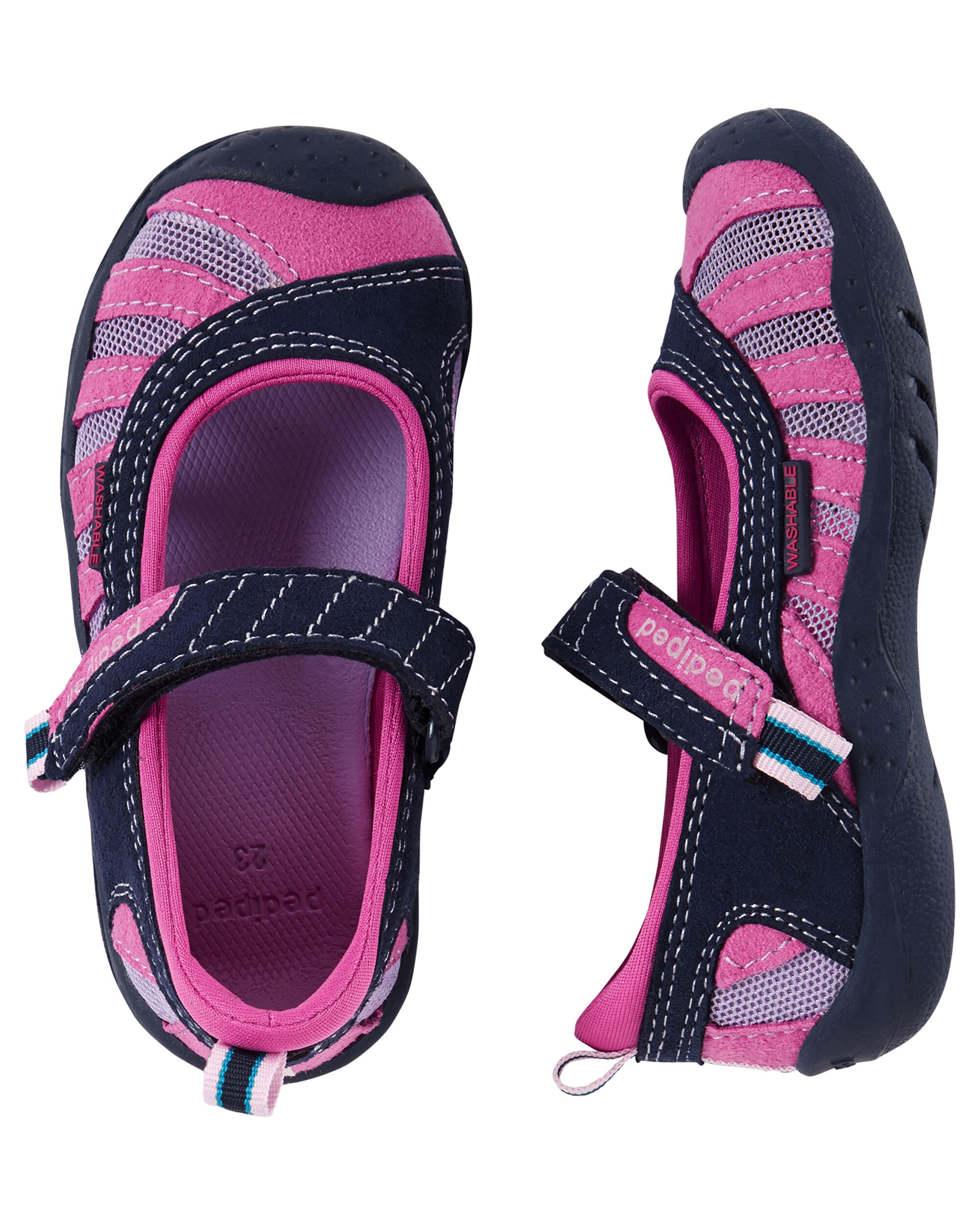 Kid Girl Pediped Flex Minnie Navy Pink