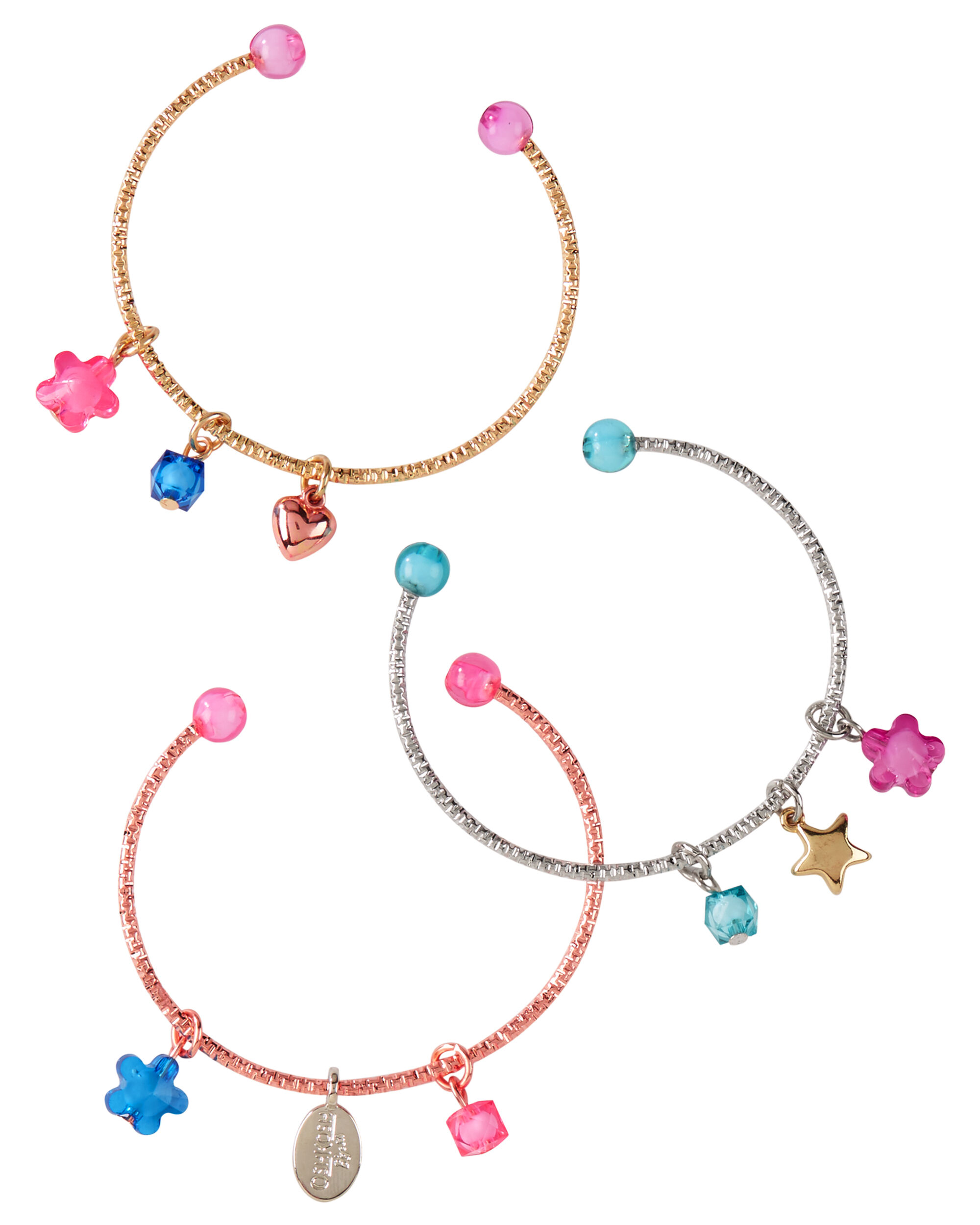 3 Pack Charm Bangle Bracelets